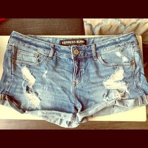 Express Distressed Jean Shorts